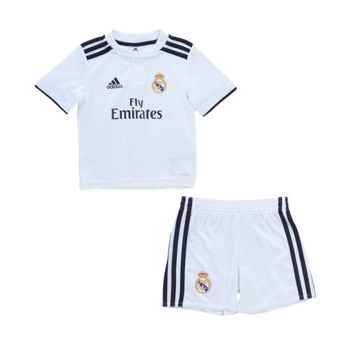 Kids Real Madrid Soccer Jerseys 2018-19 Home Football Kits (Shirt + Shorts)