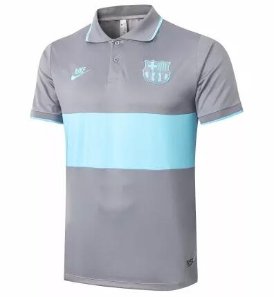 Barcelona Polo Jersey Shirts 2020-21 Grey Blue