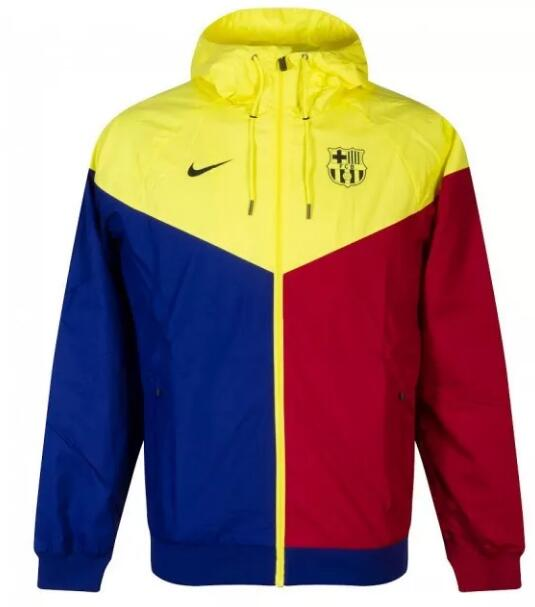 Barcelona Windrunner Hoodie Jacket 2020-21 Yellow Red Blue