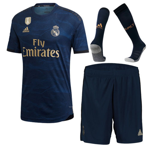 Real Madrid 19-20 Away Navy Soccer Jerseys Kit(Shirt+Short+Socks)