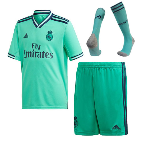 Real Madrid 19-20 Third Away Green Soccer Jerseys Whole Kit(Shirt+Short+Socks)