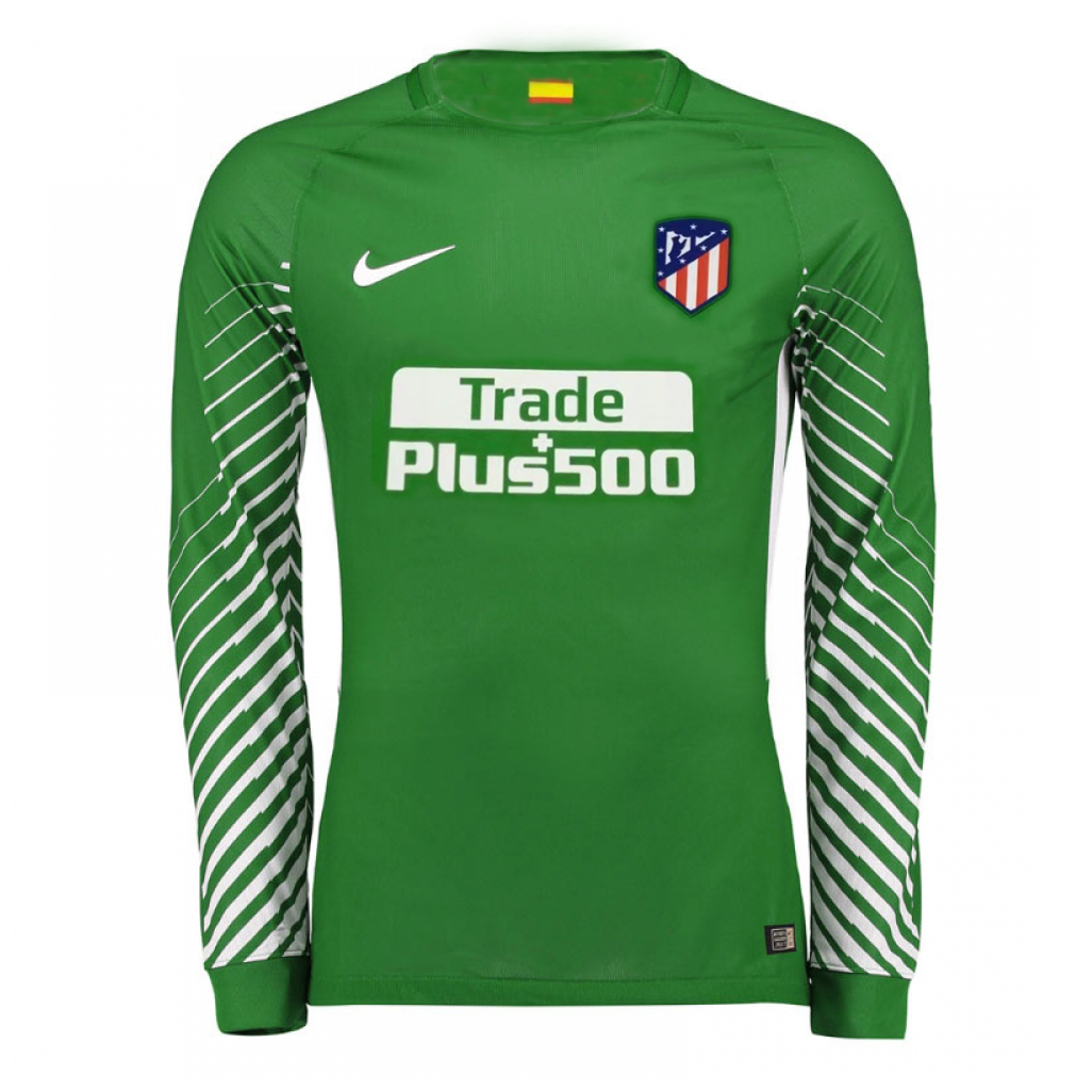 Atletico Madrid 2017-18 Green Goalkeeper Long Sleeved Shirt Soccer Jersey