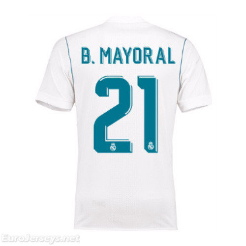 Real Madrid 2017-18 Home B. Mayoral #21 Shirt Soccer Jersey