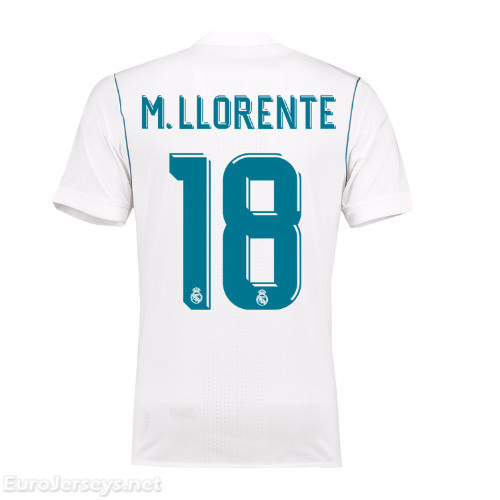 Real Madrid 2017-18 Home M. Llorente #18 Shirt Soccer Jersey
