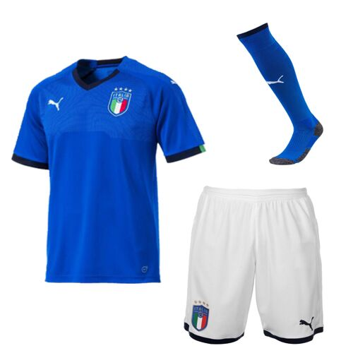Kids Italy Home Soccer Jersey Children Kits 2018 World Cup (Shirt + Shorts + Socks)