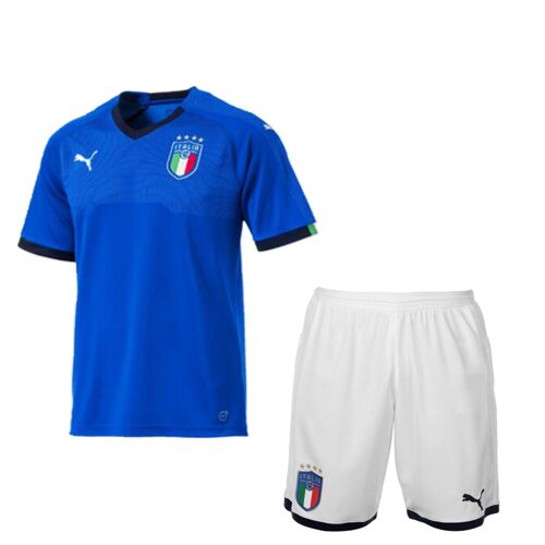 Kids Italy Home Soccer Jersey Children Kits 2018 World Cup (Shirt + Shorts)