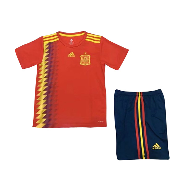 Spain 2018 World Cup Home Kids Soccer Kit Children Shirt And Shorts