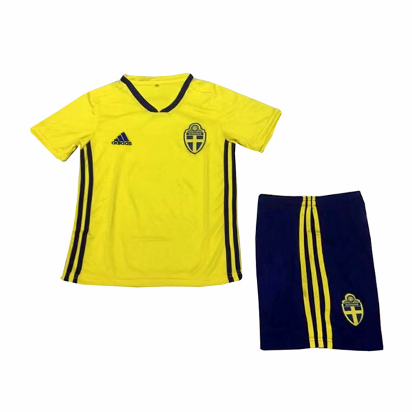 Sweden 2018 World Cup Home Kids Soccer Kit Children Shirt And Shorts