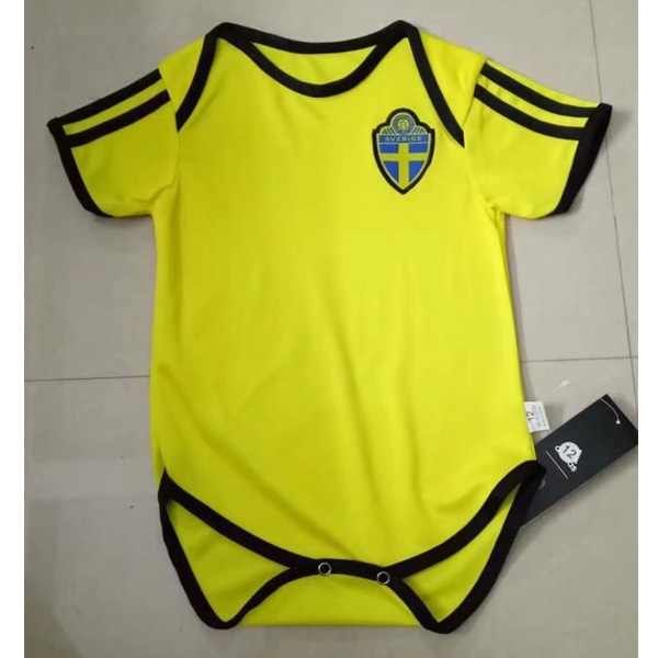 Baby Kids Sweden 2018 World Cup Home Soccer Jersey Kit