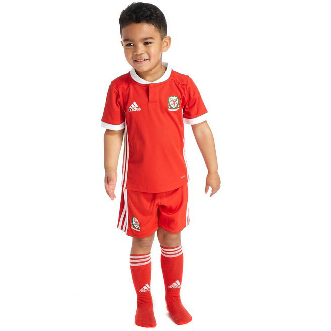 Wales 2018 World Cup Home Kids Soccer Kit Children Shirt And Shorts