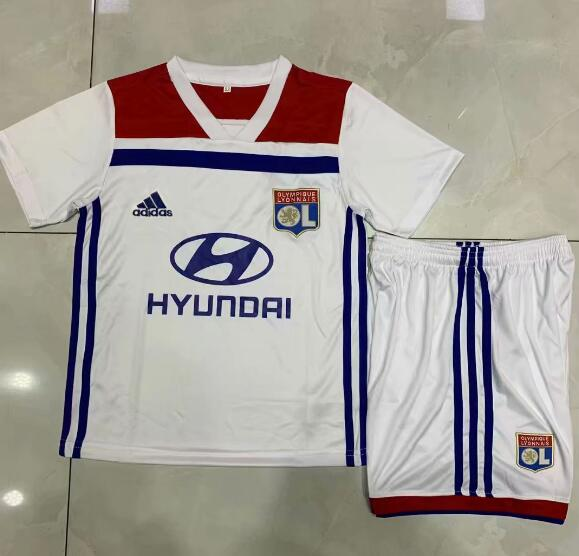 Kids Olympique Lyonnais Soccer Jerseys 2018-19 Home Football Kits (Shirt + Shorts)