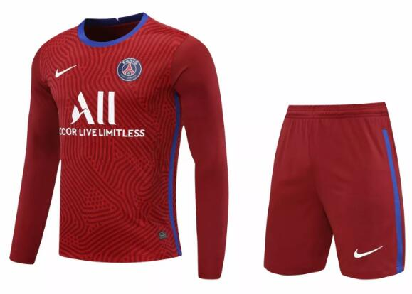 PSG Long Sleeve Goakeeper Soccer Kits 2020-21 Red Football Suits