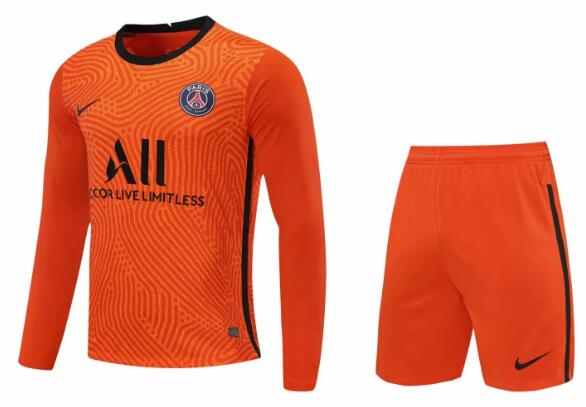PSG Long Sleeve Goakeeper Soccer Kits 2020-21 Orange Football Suits