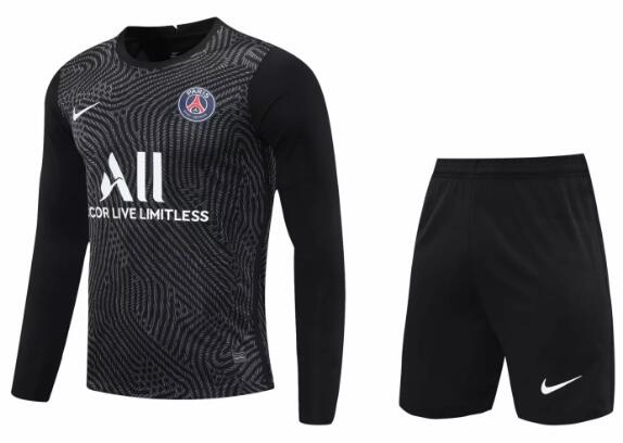 PSG Long Sleeve Goakeeper Soccer Kits 2020-21 Black Football Suits
