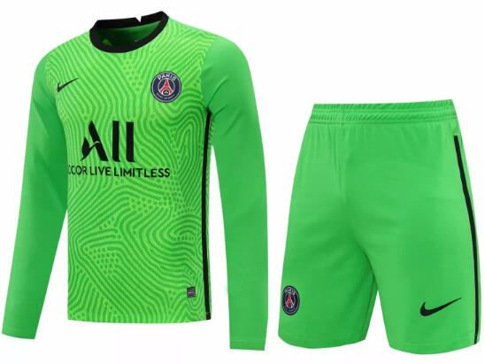 PSG Long Sleeve Goakeeper Soccer Kits 2020-21 Green Football Suits