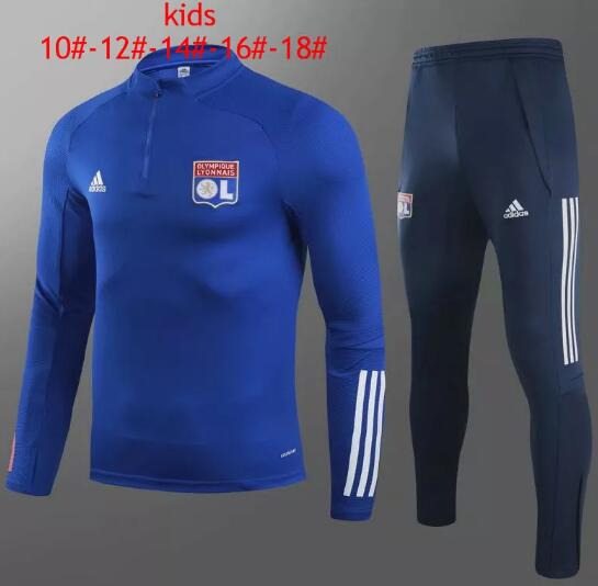 Olympique Lyonnais Youth Training Kits 2020-21 Blue Top + Pants