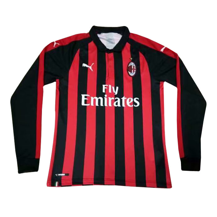 AC Milan Long Sleeve Soccer Jerseys 2018-19 Home Football Shirts