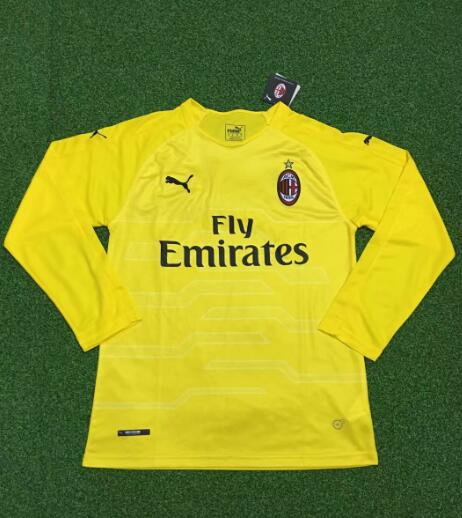AC Milan Long Sleeve Goalkeeper Soccer Jerseys 2018-19 Yellow Football Shirts