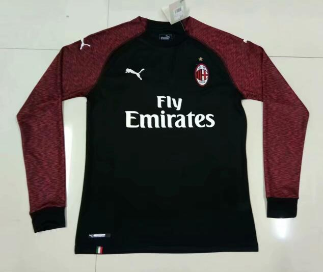 AC Milan Long Sleeve Soccer Jerseys 2018-19 Third Football Shirts