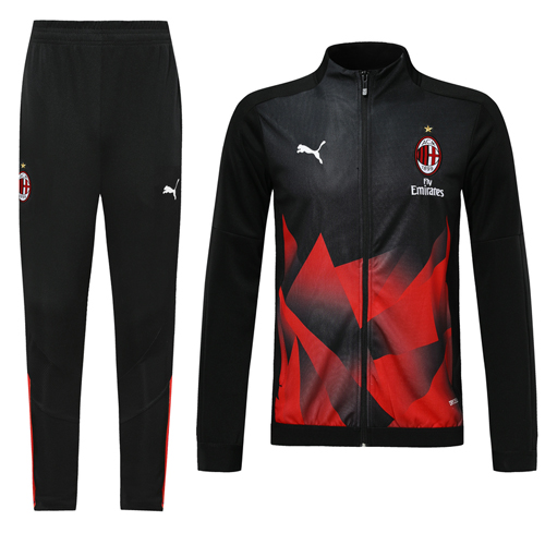 AC Milan 19/20 Black&Red High Neck Collar Training Kit(Jacket+Trouser)