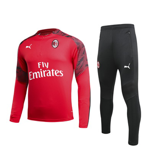 AC Milan 19/20 Red Zipper Sweat Shirt Kit(Top+Trouser)