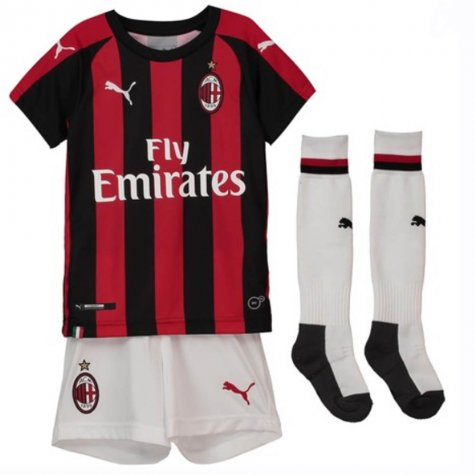 Kids AC Milan Soccer Jerseys 2018-19 Home Football Kits (Shirt + Shorts + Socks)