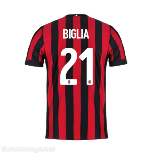 AC Milan Home Best Wholesale Football Kit 2017-18 Biglia #21 Cheap Soccer Jerseys