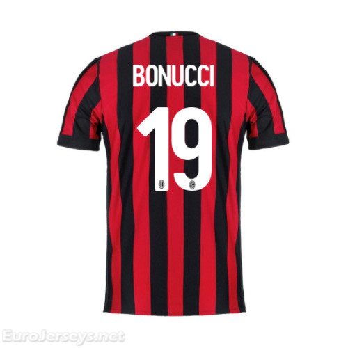 AC Milan Home Best Wholesale Football Kit 2017-18 Bonucci #19 Cheap Soccer Jerseys