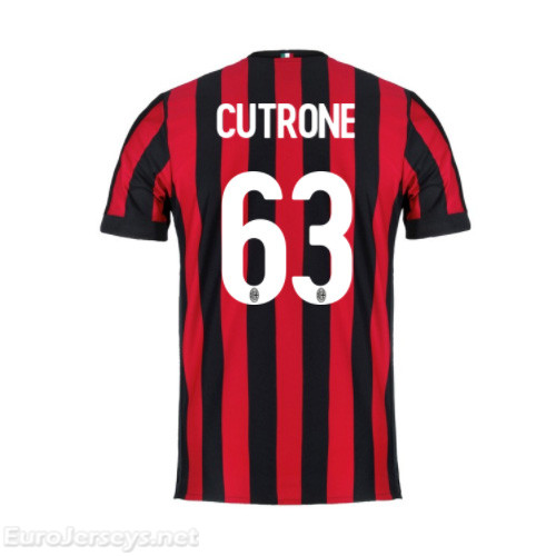 AC Milan Home Best Wholesale Football Kit 2017-18 Cutrone #63 Cheap Soccer Jerseys