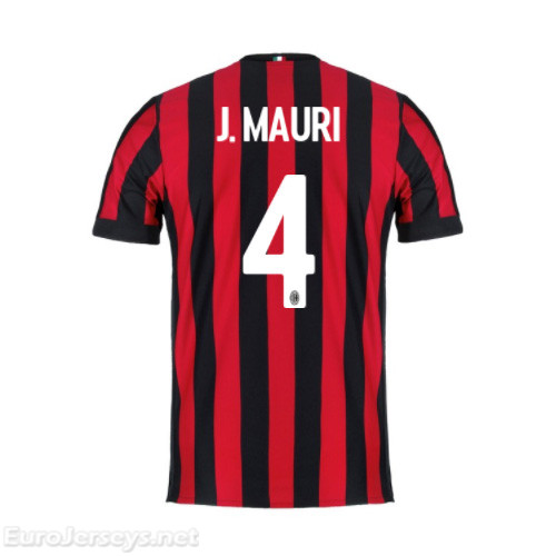 AC Milan Home Best Wholesale Football Kit 2017-18 J.Mauri #4 Cheap Soccer Jerseys