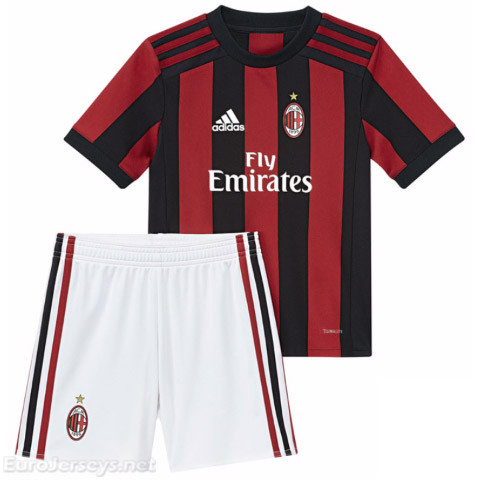 AC Milan Home Best Wholesale Football Kit 2017-18 Kids Kit Children Shirt And Shorts