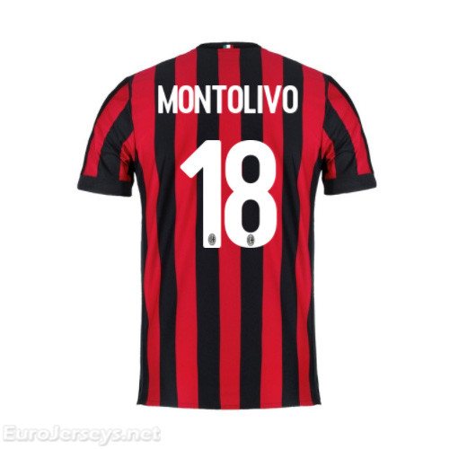 AC Milan Home Best Wholesale Football Kit 2017-18 Montolivo #18 Cheap Soccer Jerseys