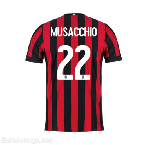 AC Milan Home Best Wholesale Football Kit 2017-18 Musacchio #22 Cheap Soccer Jerseys