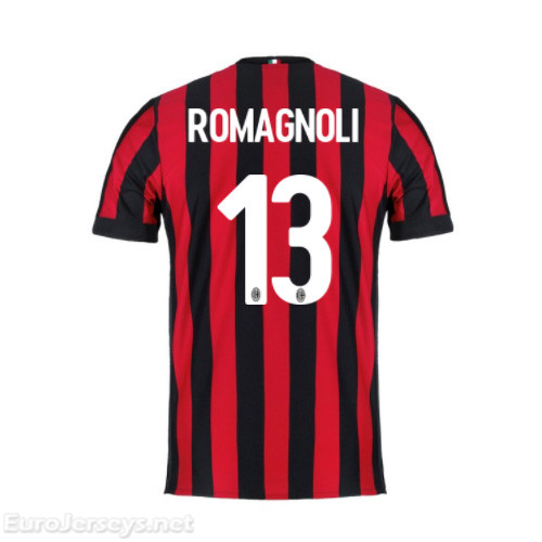 AC Milan Home Best Wholesale Football Kit 2017-18 Romagnoli #13 Cheap Soccer Jerseys