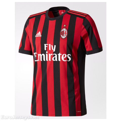 AC Milan Home Best Wholesale Football Kit 2017-18 Cheap Soccer Jerseys