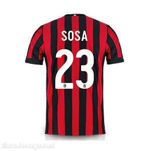 AC Milan Home Best Wholesale Football Kit 2017-18 Sosa #23 Cheap Soccer Jerseys