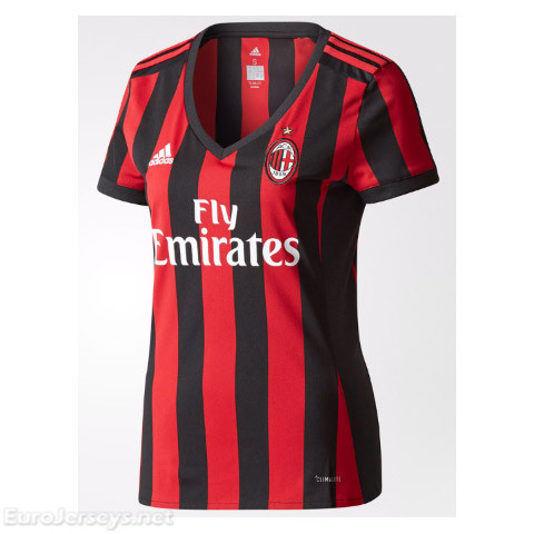 AC Milan Home Best Wholesale Football Kit 2017-18 Women's Cheap Soccer Jerseys
