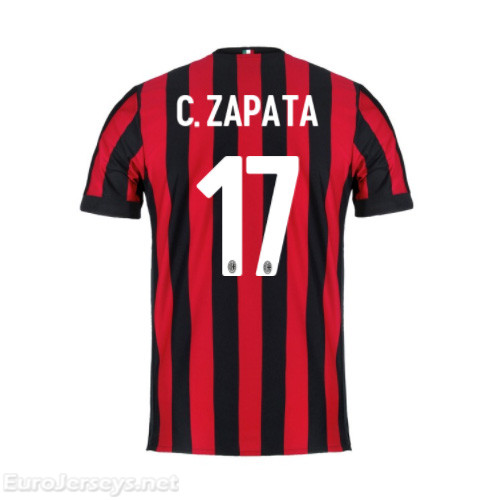 AC Milan Home Best Wholesale Football Kit 2017-18 Zapata #17 Cheap Soccer Jerseys