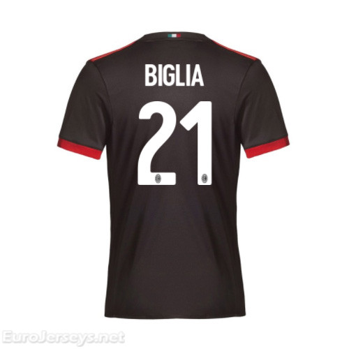 AC Milan 3rd Best Wholesale Football Kit 2017-18 Biglia #21 Cheap Soccer Jerseys