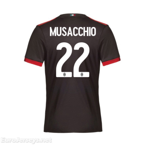 AC Milan 3rd Best Wholesale Football Kit 2017-18 Musacchio #22 Cheap Soccer Jerseys