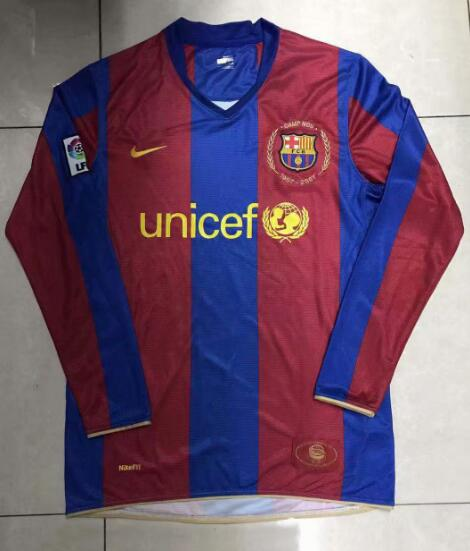 Barcelona Retro Long Sleeve Soccer Jerseys 2007-2008 Home Football Shirts