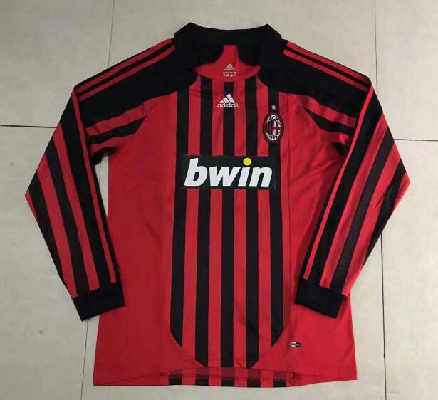 AC Milan Retro Long Sleeve Soccer Jerseys 2008 Home Football Shirts