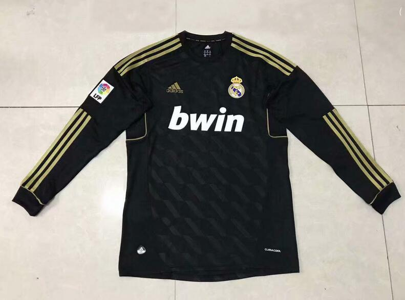 Real Madrid Retro Long Sleeve Soccer Jerseys 2012 Black Football Shirts