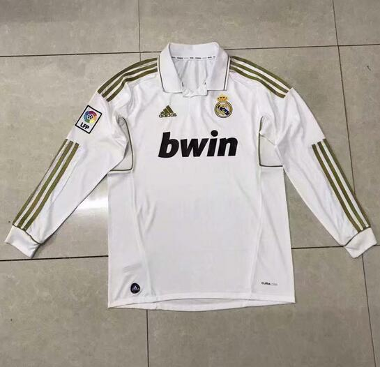 Real Madrid Retro Long Sleeve Soccer Jerseys 2012 Home Football Shirts