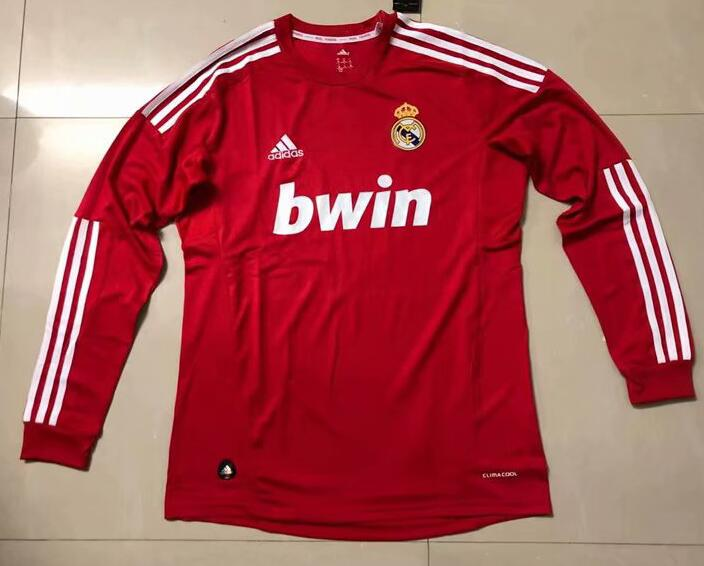 Real Madrid Retro Long Sleeve Soccer Jerseys 2012 Red Football Shirts