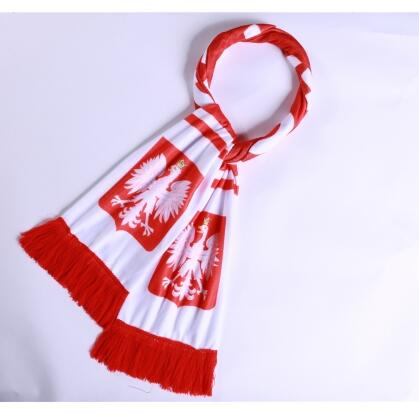 Poland 2018 World Cup White Soccer Scarf