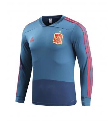 Spain Training Sweat Shirt Blue 2018 World Cup