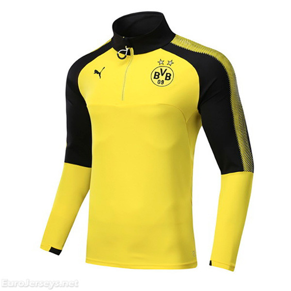 Borussia Dortmund 2017-18 Yellow Zipper Sweat Top Shirt