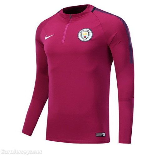 Manchester City 2017-18 Purple Zipper Sweat Top Shirt