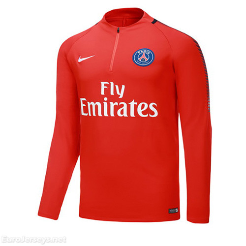 PSG 2017-18 N98 Red Zipper Sweat Top Shirt